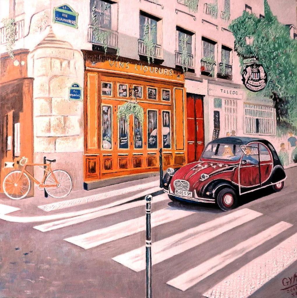 peinture 2 cv rue chanoinesse du peintre michel georges sur exposition peinture