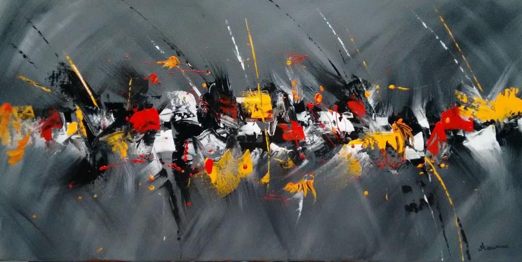 Peinture En Gris Et Belge Du Peintre Assorino Sur Exposition Peinture