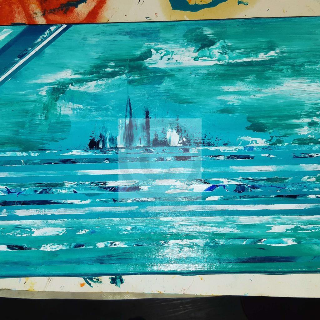 Peinture Île turquoise du peintre Monath L sur Exposition Peinture