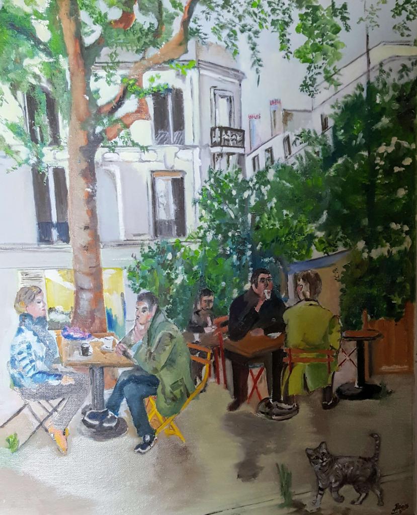 Carte virtuelle Café matinal sur une place parisienne