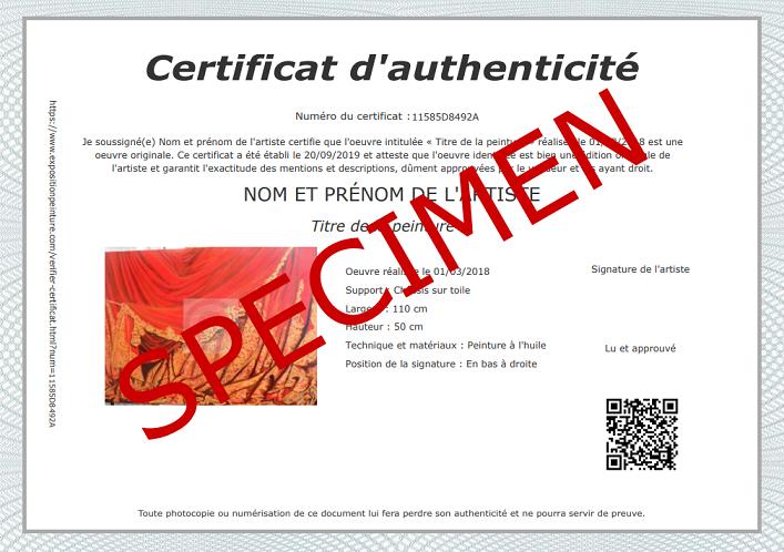 Modèle certificat d'authenticité