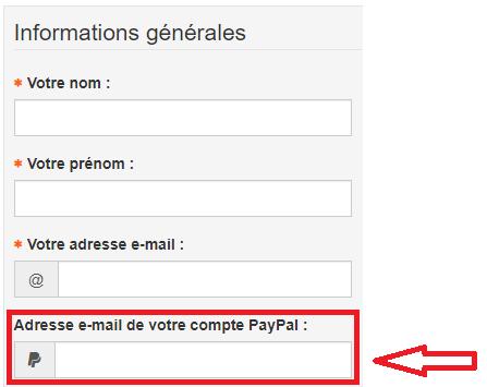 Indiquez votre adresse Paypal