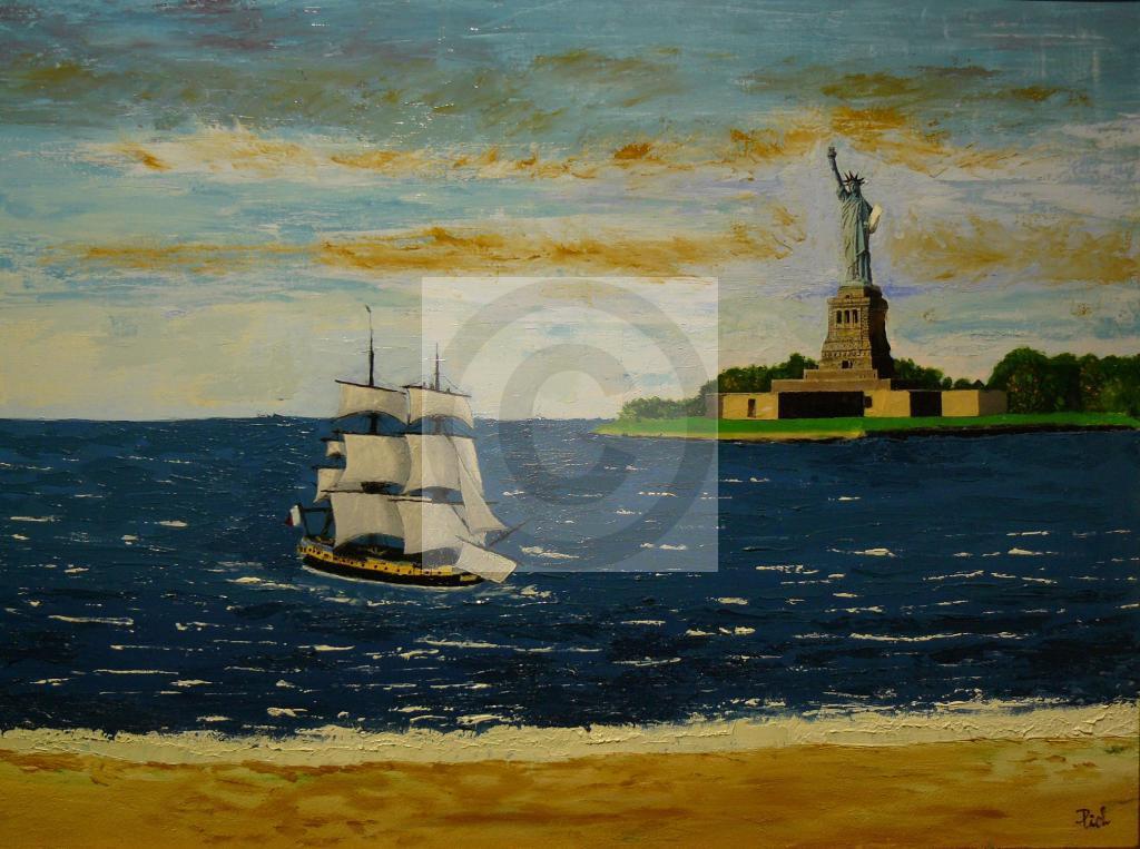 Peinture L'Hermione croisant la statue de la liberté du peintre Michel THEVENOT sur Exposition ...
