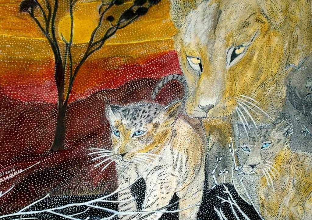 "Peinture ""MOM LION AND ITS TWO LION CUBS"""