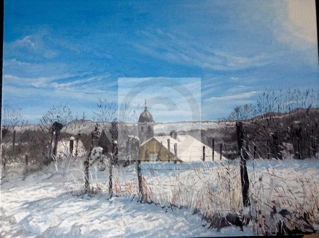 Peinture Neige dans le Doubs du peintre Manicourt ...
