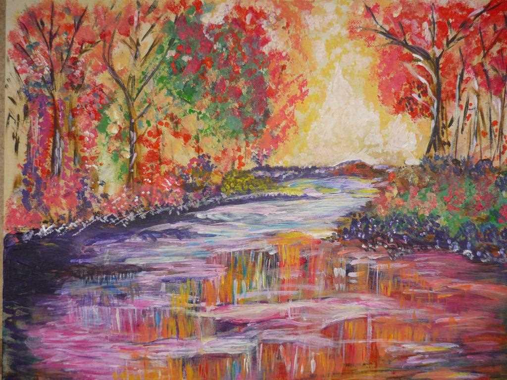 Peinture Paysage d'automne au couchant du peintre SAMBITO ...
