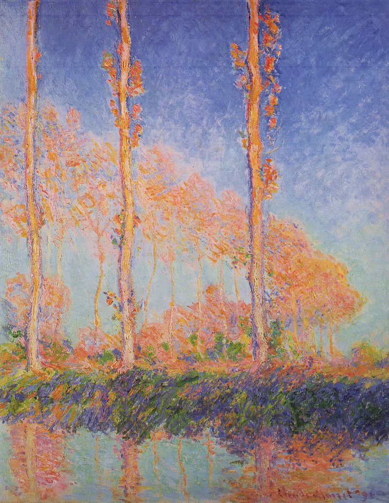 Les Peupliers, trois arbres roses, automne