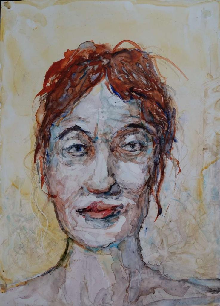 Peinture Portrait de femme au cheveux roux du peintre Pierre Milosavljevic sur Exposition Peinture