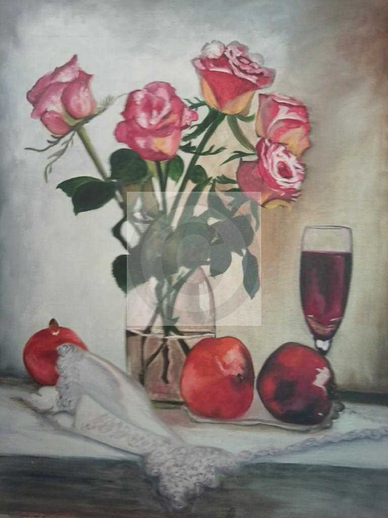 Peinture roses rouges et jaunes du peintre ANY sur ...