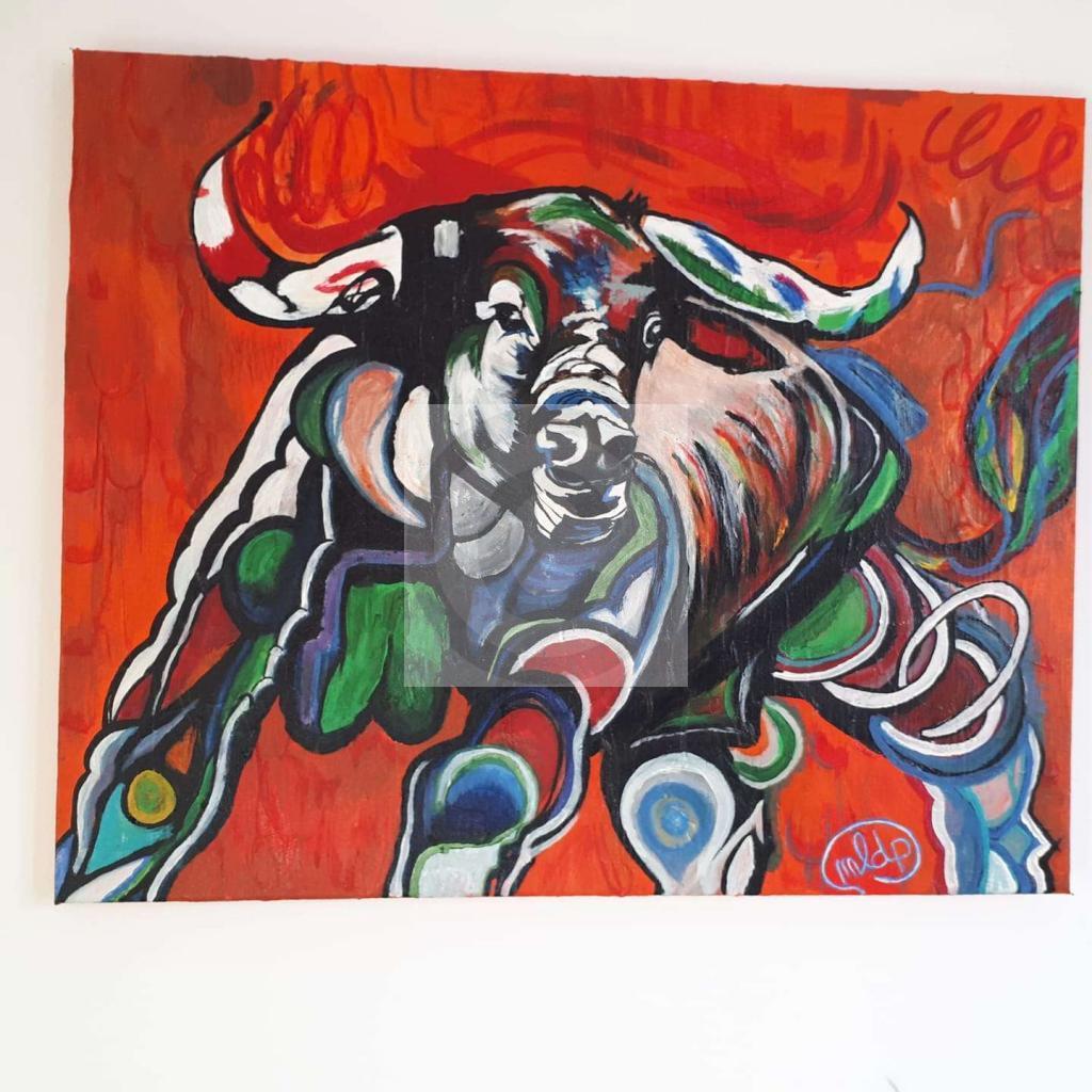 Peinture Taureau En Charge Du Peintre Melanie De Page Sur Exposition Peinture