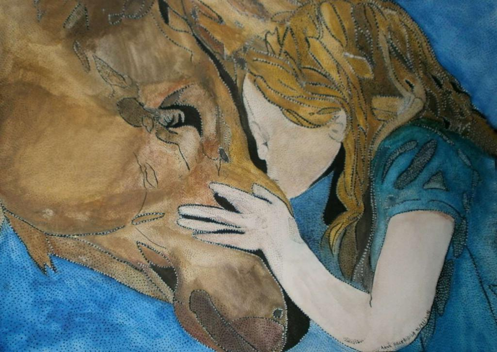 Peinture TENDERNESS OF A GIRL AND HER HORSE