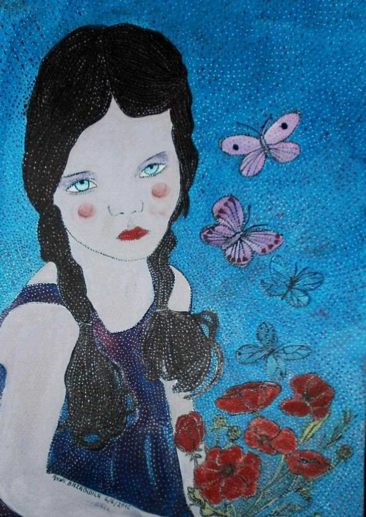 "Peinture ""THE DOLL AND ITS POPPIES"""
